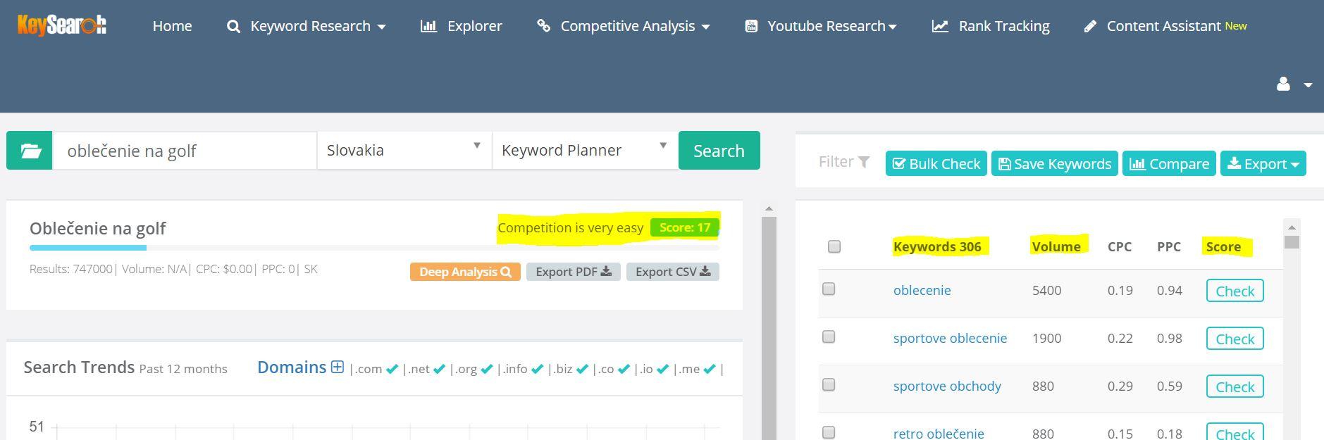 keyword planner seo webstranka